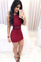 Sheath Square Short Burgundy Cocktail homecoming Dress with Appliques cg1852