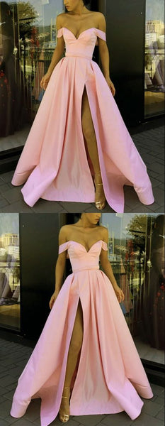 Sexy long pink satin off the shoulder prom dresses side split evening gown   cg18551