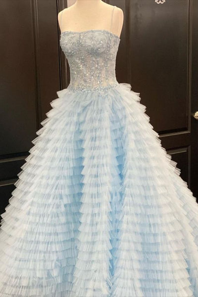 strapless light blue tiered long ball gown prom dress    cg18578
