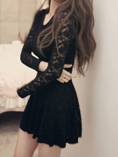 Black Round Neck Long Sleeve Lace homecoming Dress  cg1860