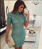 Women Lace Casual Short Dress Hollow Evening Coacktail Party Bodycon homcoming dress   cg18637