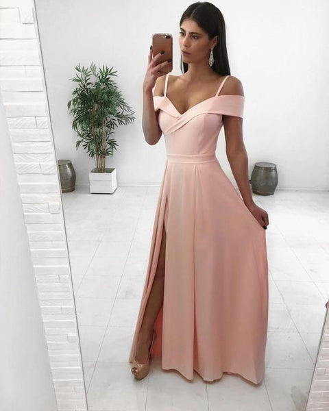 Pink Prom Dress, Long Prom Dress, A Line Simple Prom Dress   cg18639