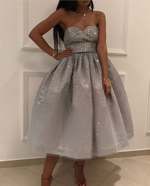 Bling Bling Sequins Ball Gowns,Silver Homecoming Dress,Swing Party Dress,Short Dresses cg1863