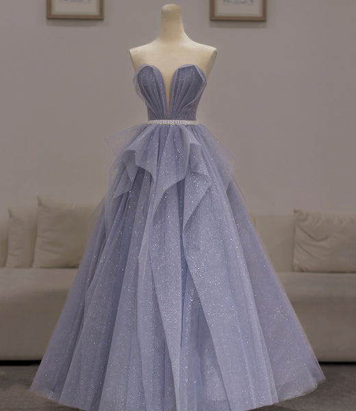 PURPLE TULLE LONG PROM GOWN A LINE EVENING DRESS    cg18664