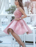 Beautiful Charming Pink v neck short dress with beading, cute homecoming dress cg186