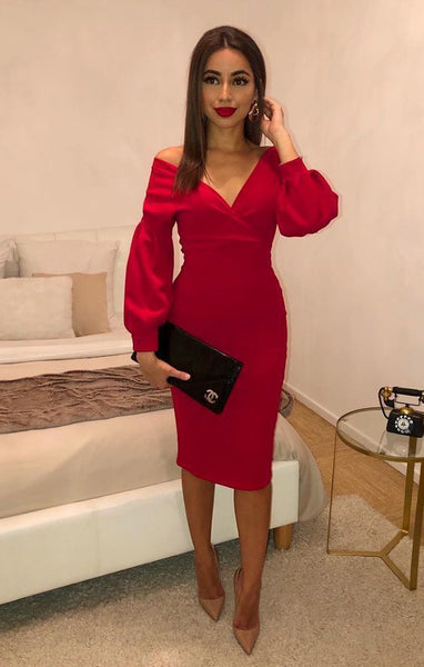 Red Belted Bodycon Midi Dress Prom Dress With Sleeve   cg18713