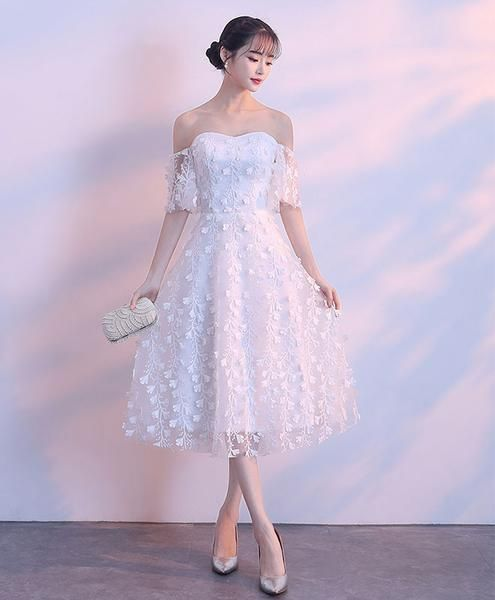 White lace sweetheart short dress, white homecoming dress cg1871
