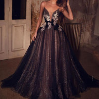 black sparkly prom dresses spaghetti strap v neck Lace Applique sexy formal prom gown   cg18749