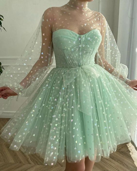 A-Line Tulle Evening Dresses,Long Sleeves Princess Gown Homecoming Dress    cg18754