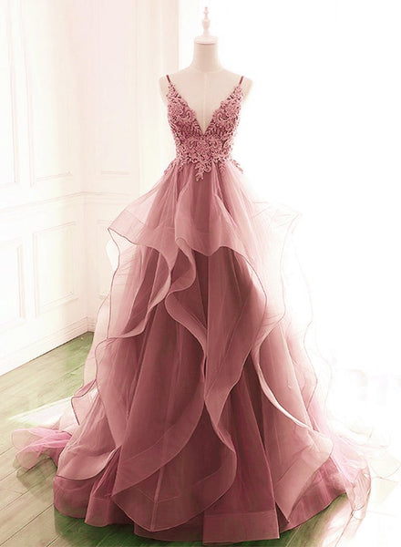 Dark Pink V-Neck Tulle Lace Prom Dress,Spaghetti Strap Prom Dress,Ruffle A Line Formal Dress   cg18781