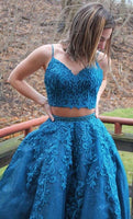 two piece long prom dresses, blue lace prom gowns, fashion prom dresses for teens   cg18811