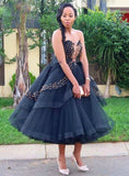 Black Ball Gown Tulle Sweetheart Beading Tea Length Prom Dress   cg18832