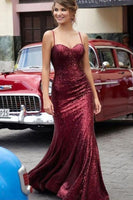 Sequined Sweetheart Prom Dress Burgundy Mermaid Formal Evening Gown Long Party Dress cg1886