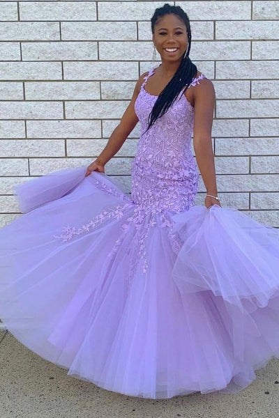 Mermaid Lavender Lace Appliqued Long Prom Dress Graduation Dress with Tulle   cg18886