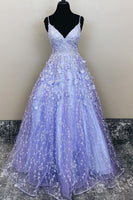 A-line lavender appliques long prom dress    cg18905
