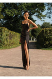 2019 Spaghetti Straps A-line Black Long Prom Dresses,Simple Prom Dress with Slit,Mermaid Prom Dress cg1894