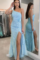 Elegant one shoulder blue lace tight long prom dress with side slit    cg18964