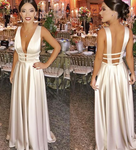 Simple Sexy Deep V-Neck A-Line Satin Prom Dress Custom Made Long Backless Evening Party Dresses Fashion Formal Dresses  cg1896