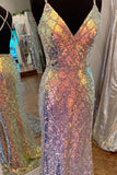 Elegant Mermaid Colored Sequined Formal Dress prom dress     cg19035