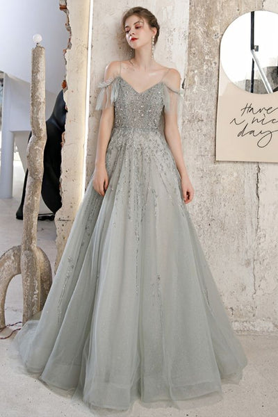A-line Sage Green Tulle Long Prom Dress Formal Dess Graduation Dress    cg19037