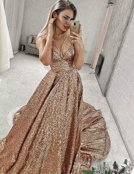 Sexy Sequined Prom Dresses Long Champagne Evening Gowns Spaghetti Straps cg1906