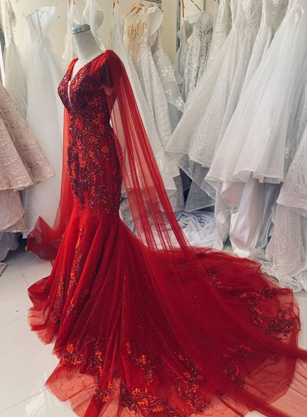 Charming Sexy A Line Prom Dress Unique red vintage wedding dress    cg16079