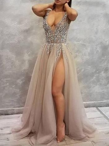 Charming Tulle Evening Dress, High Slit Prom dress cg1909