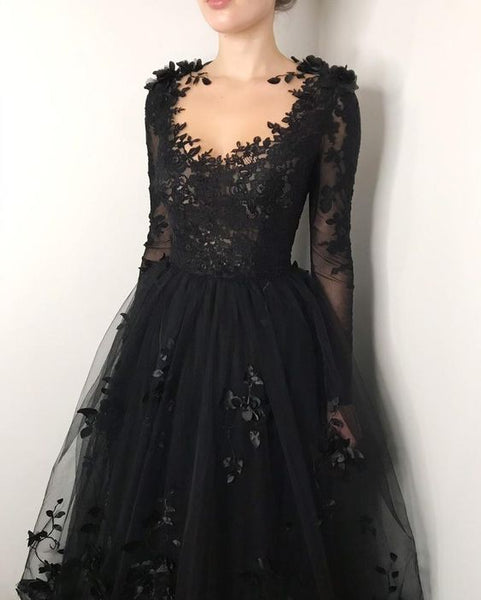 Black floral gothic wedding dress, black flower tulle lace dress, alternative bridal gown prom dress long formal gowns    cg19132