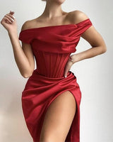 Sexy Off Shoulder Red Draped Split Women Winter Christmas Dress prom dresses    cg19148