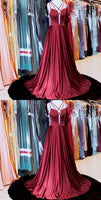 SIMPLE BURGUNDY SATIN LONG PROM DRESS, BURGUNDY EVENING DRESS cg1915