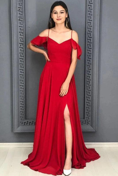 A Line Red Chiffon Prom Dresses Long Sexy Split Evening Party Gowns For Women     cg19169