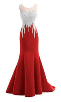 Red Mermaid Sleeveless Prom Dress with Appliques, Long Formal Dress with Sparkles cg1916