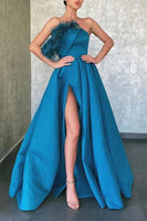 A Line Blue Floor Length Satin Prom Dresses Formal Evening Dresses    cg19171