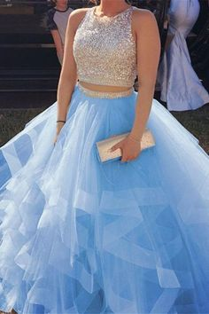 Two Piece Sweet 16 Dresses Ruffles Prom Dresses    cg19181