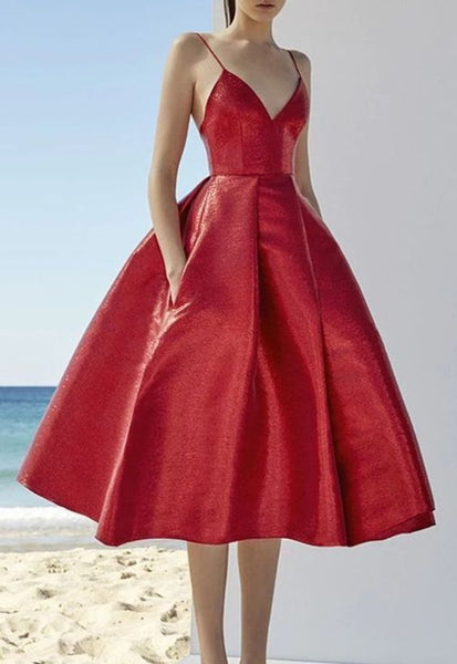 red Elegant sparhetti A-line long prom dress cg1918