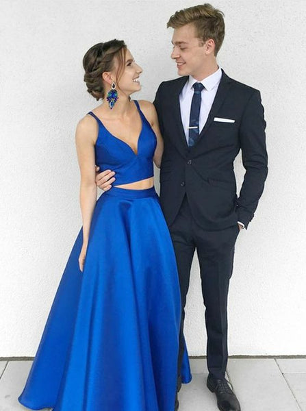 Charming Royal Blue Two Pieces Long Prom Dress Party Dresses cg1920