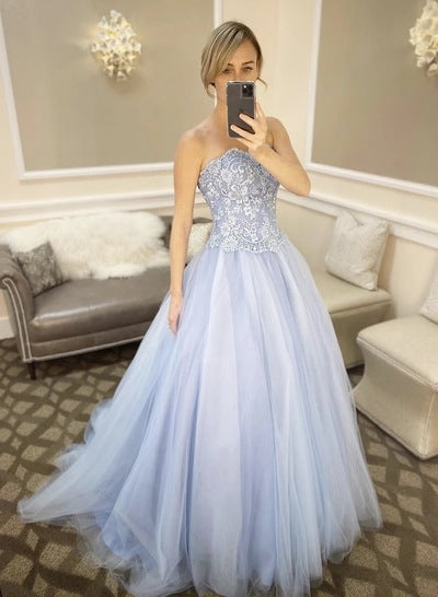 Light Blue Sweetheart Neck Long Lace Prom Dress Evening Dress    cg19225