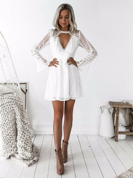 A-Line Jewel Long Sleeves Short White Lace Homecoming Dress cg1923