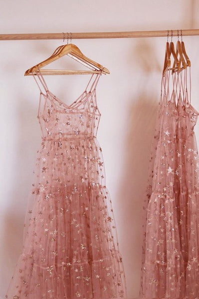 Sexy new fashion star prom dress , pink tulle prom gown cg1927