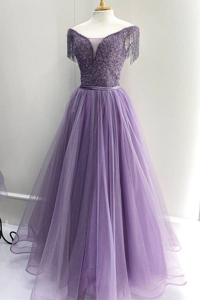 off the shoulder purple long evening dress prom dress   cg19397