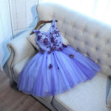 A-Line V-Neck Tulle Sleeveless Homecoming Dresses With Hand Made Flower, cg193