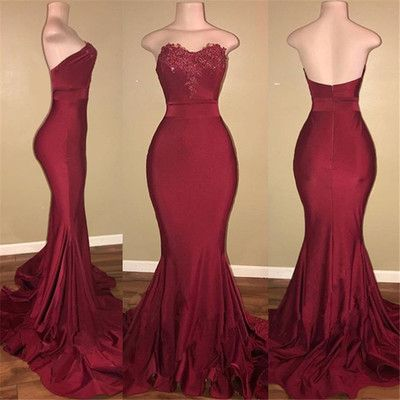 Strapless Burgundy Prom Dresses Long Mermaid Evening Gowns   cg19421