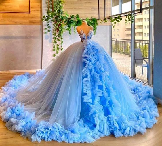 Blue ball gown fashion new Prom Dress    cg19445