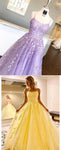 Amazing Lilac Straps Long Lace Prom Dress with Appliques    cg19453