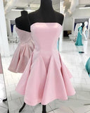 Pink Strapless Backless Homecoming Dresses,A Line Cocktail Dresses  cg1946