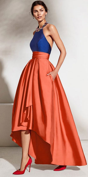 Satin Halter Neckline Backless Hi-lo A-line Prom Dress With Beadings cg1948