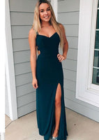 Sheath Navy Long Prom Dress,Long Prom Dress with Side-Split,Evening Formal Dress  cg1954