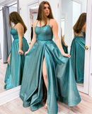 spaghetti straps gown leg split long prom dress evening dress    cg19555