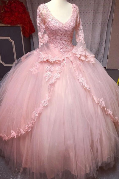 long sleeves quinceanera dresses,blush pink quinceanera dresses,ball gowns quinceanera dresses,sweet 16 prom dress   cg19599