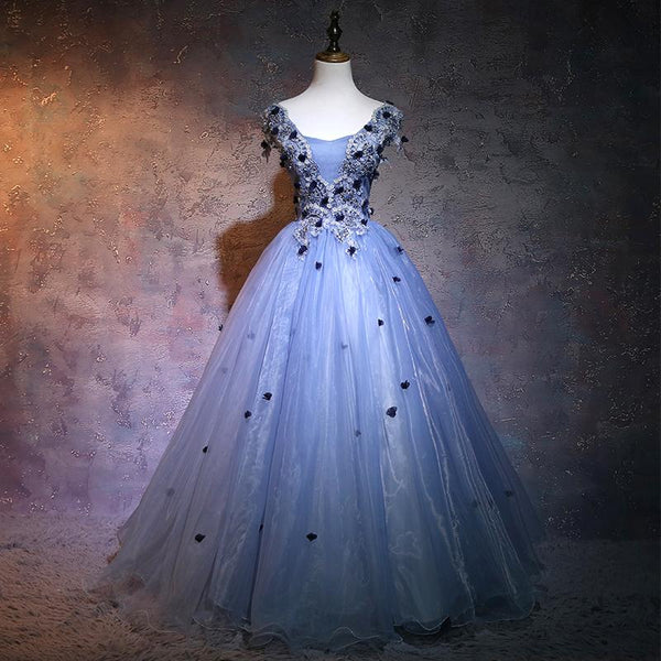 Charming Blue Ball Gown Lace Long Formal prom Dress, Blue Tulle Sweet 16 Dress With Flowers    cg19613